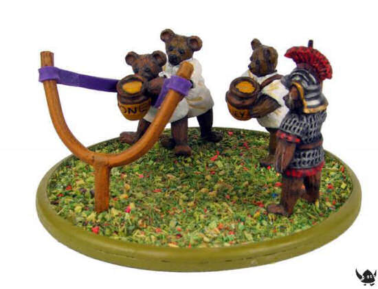 Teddy Bear Romans catapult and crew
