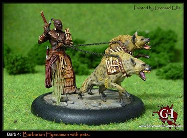 Barbarian Hyenaman with pets