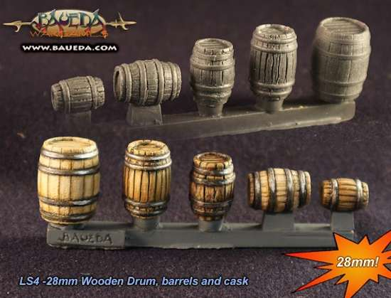 28mm Wooden Drum, barrels and cask
