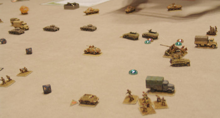 Final positions - my flanking maneuver at top of photo
