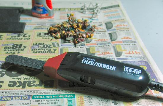 Sandpaper tip on tool