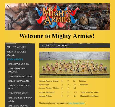 Amazons army list from MA website