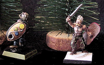Trees are mounted on natural wood bases (shown with 28mm Celts)