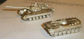 Assembled T-80B and BMP-1