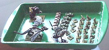the finished tray, showing (left to right) 28mm, 6mm, and 15mm figures